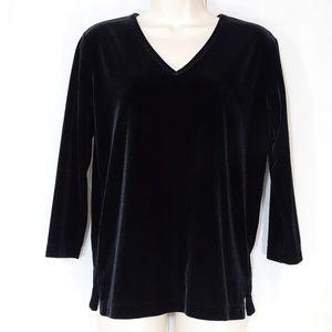 Karen Kane V-neck Velour Shirt Top Women Size S